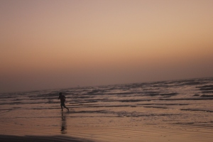 Enjoying a sunrise in Galveston.