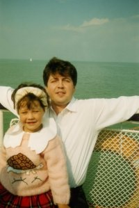 My dad and I on a boat, how cute is my sweater? I'm pretty sure that my grandma knit it