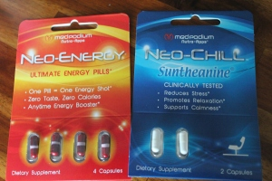 Energy and relaxing supplements. I think I will read more about these before I try them. I get a little nervous about popping pills (although my logic is flawed, because they can put just as much crap into drinks as well)