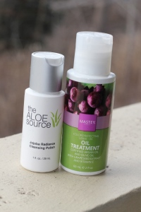 The Aloe Source - Jojoba Radiance Cleansing Polish and Mastey - Color Protecting Leave-in Oil Treatment.