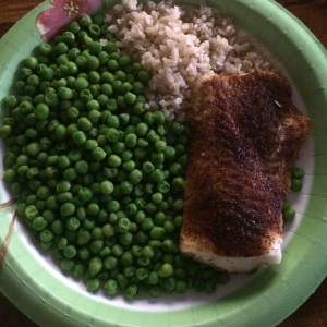 Cod, brown rice and peas. I was very low on my yellow (carbs and starches) containers so this totally made up for it